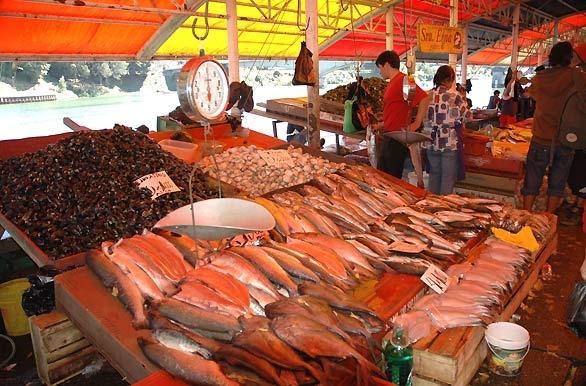Puesto de pescados y mariscos en el Mercado Fluvial de Valdivia, Chile.