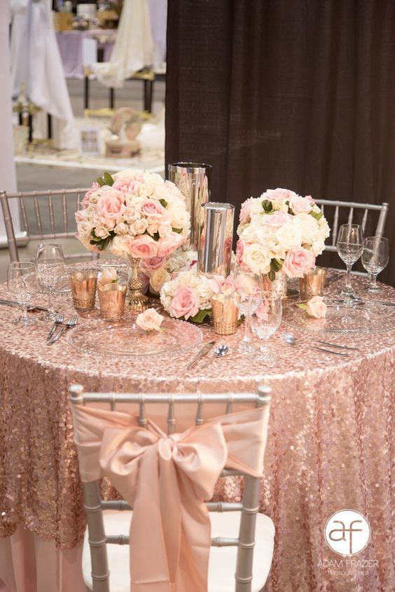 50+ Prettiest Spring Wedding Color I deas---rose gold glitter table runners with white and blush floral centerpieces, diy wedding chair with blush ribbon