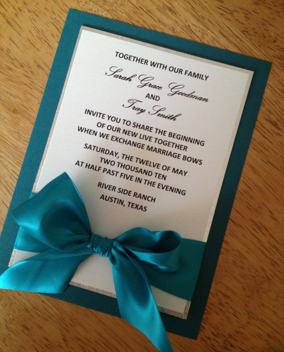 Teal Ivory and silver Wedding Invitation by URinvitedus on Etsy, $4.75