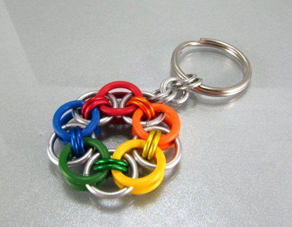 Rainbow Chainmaille Keychain