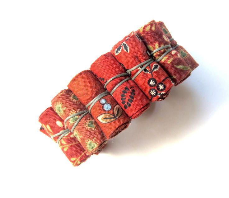 Floral Crimson fabric bracelet, spring fashion fabric bracelet, fabric bracelet fashion accessory by Gilgulim on Etsy