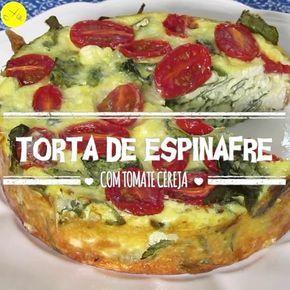 Você vai se apaixonar por essa receita FIT!  Torta de Espinafre com Tomate Cereja! Ingredientes: 6 ovos  1 cebola picadinha 100g de ricota amassada 100g de muçarela ralada 2 xícaras de folhas de espinafre Sal e ervas finas a gosto Azeite a gosto 1 caixinha de tomate cereja Como faz? Transfira os ovos para uma tigela e bata lentamente. Adicione a cebola, a ricota, a muçarela e o espinafre. Misture tudo. Adicione sal e ervas finas a gosto e misture novamente. Passe fios de azeite por ci...