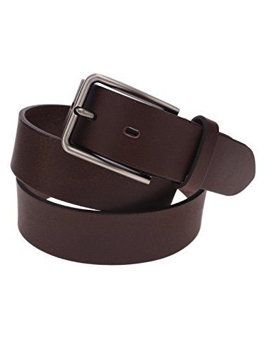 FLATSEVEN Mens Solid Color Genuine Leather Silver Metal Buckle Classic Belt (Y410), DarkBrown FLATSEVEN http://www.amazon.co.uk/dp/B00OOS1AN0/ref=cm_sw_r_pi_dp_WL8bvb14FSHXX