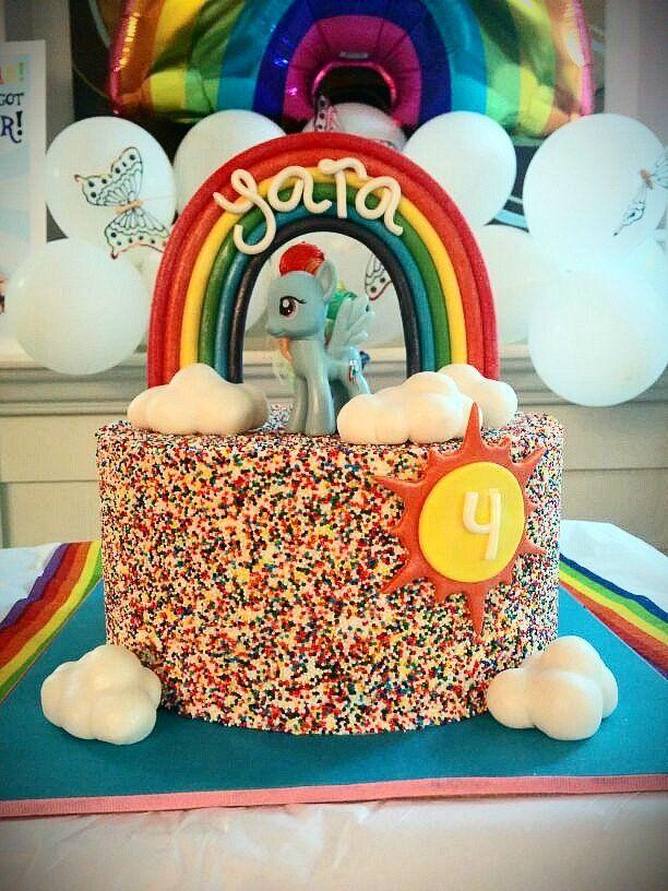 Arty Crafty Cakes - Corona, CA, United States. Rainbow Dash swiss merengue buttercream cake (choco cake w/ganache filling). Fondant decorations. Look at those perfect edges.