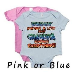 Daddy Knows A Lot But Grandpa Knows Everything Onesie - Blue 6-12 Months