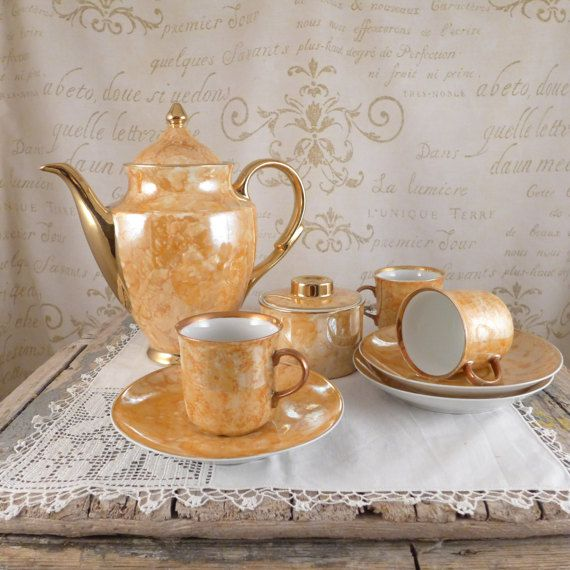 Coffee service Karolina, vintage, retro, ceramics cup, plate, brocante, set a breakfast, Vintage Glasses,  Vintage Coffee Pots