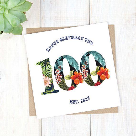 100th Birthday Card - Personalised Birthday Card - Hawaiian Birthday Card - Birthday Age Card - Mens Birthday Card - Milestone Birthday Card - Etsy - LetsDreambyChiChiMoi