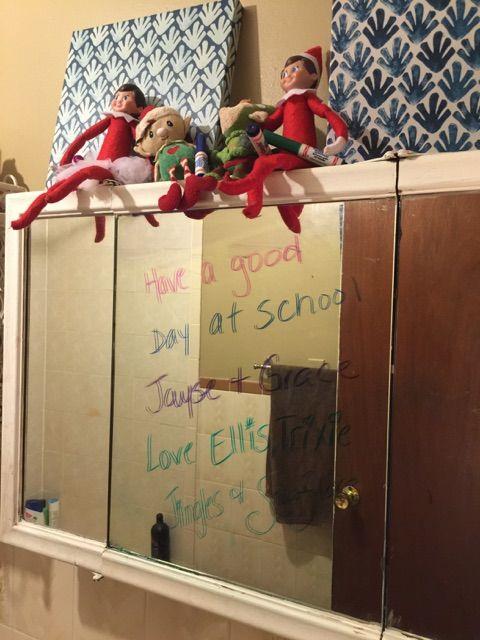 Elf on the shelf ideas writing on bathroom mirror Crayola window writers