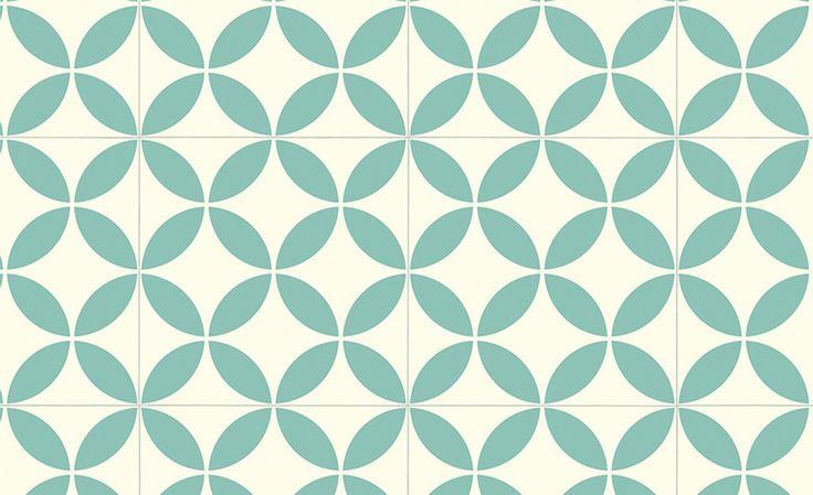 Sol vinyle BUBBLEGUM, carreau ciment vert, rouleau 4 m - . - Saint Maclou
