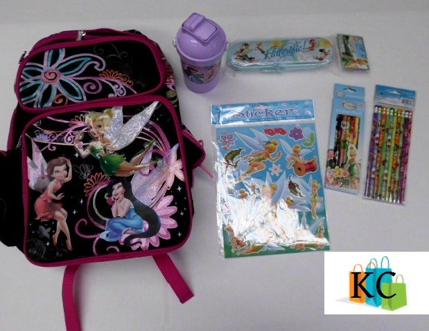 Tinkerbell Gift Pack backpack, Sticker sheet, Sip n snack drink bottle, Colored pencils, lead pencils, Pencil case $92.80 Layby Welcome on All Sets.. $10 per week