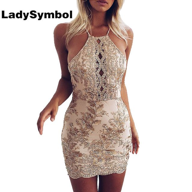 Special price LadySymbol Elegant Gold Sexy Club Bodycon Dress Women Off Shoulder Summer Lace Casual Backless Halter Gauze Metallic Beach Dress just only $18.99 with free shipping worldwide  #womandresses Plese click on picture to see our special price for you