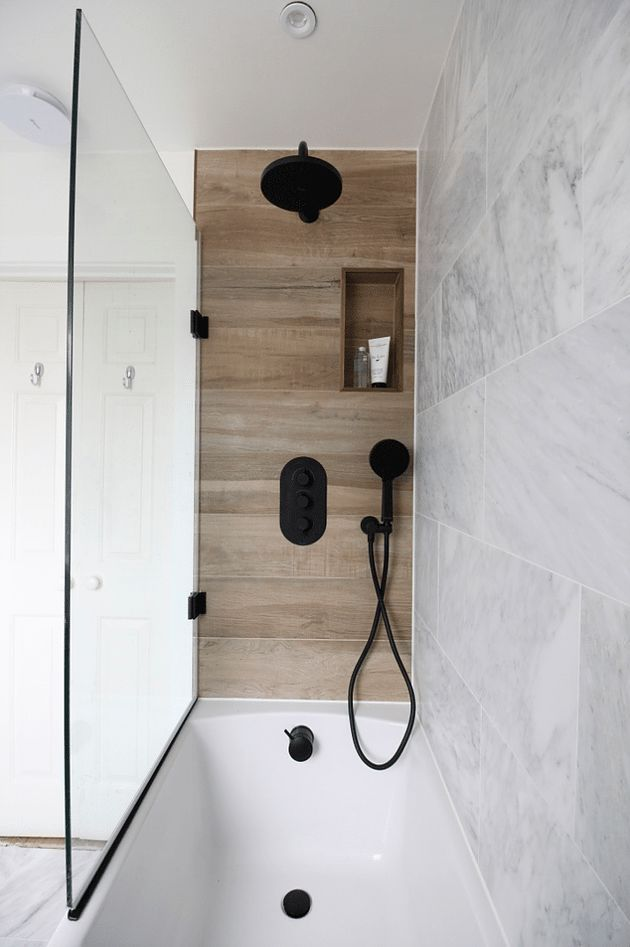 Modern Marble And Wood Bathroom With Black Accents Accents Bathroom Black Marble Modern Wood Bathroom Bathroom Interior Design Wood Tile Shower