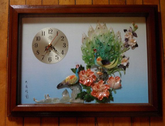 Vintage Asian Framed Carved Shell Bird & Flowers by TheDecoHotel, $129.99