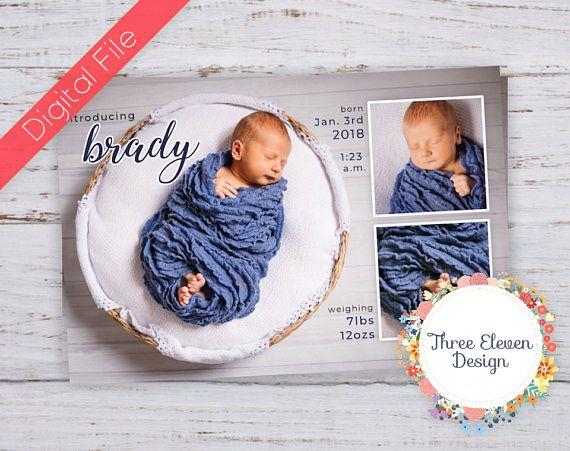 Multi Photo Printable Birth Announcement
