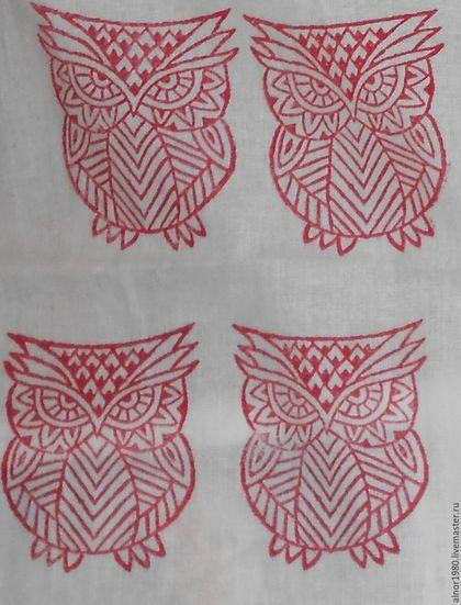 Купить Штамп для печати на ткани Филин - хобби, ручная набойка, деревянные штампы, штампы для творчества