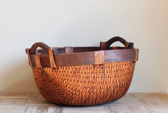 Vintage Reed Asian Basket with Wood Handles by bonnbonn on Etsy, $64.00