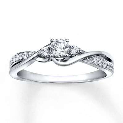 Diamond Engagement Ring 1/3 ct tw Round-cut 10K White Gold. So pretty!!!!! probably the best one I have seen! Reminds me of my promise ring :)