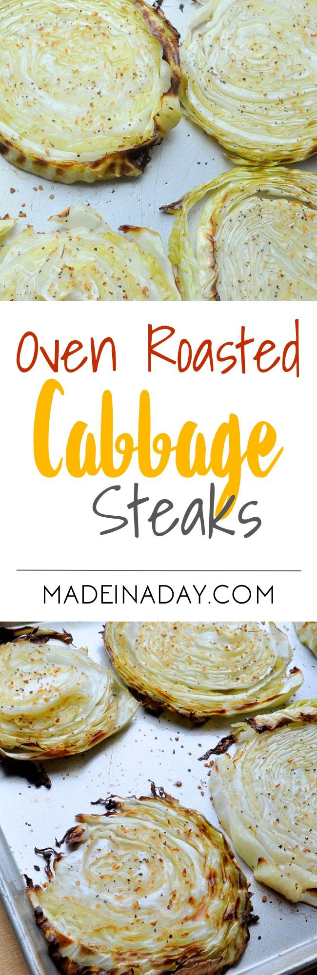 Roast Cabbage slices in the oven until they are tender. Great Low-carb side dish. Super easy recipe for Oven Roasted Cabbage steaks.  via @madeinaday