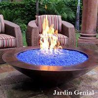 """Fire glass - огонь из стекла  Невероятное сочетание стекла - """"льда""""  и огня в камине привлекает к себе большое  внимание и служит украшением сада.  #JardinGenial #ландшафтный_дизайн  #Озеленение #Освещение #Полив #Постройки_на_участке"""