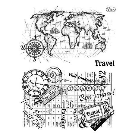 Tampon Dessin Fond Voyage Vacance ticket carte