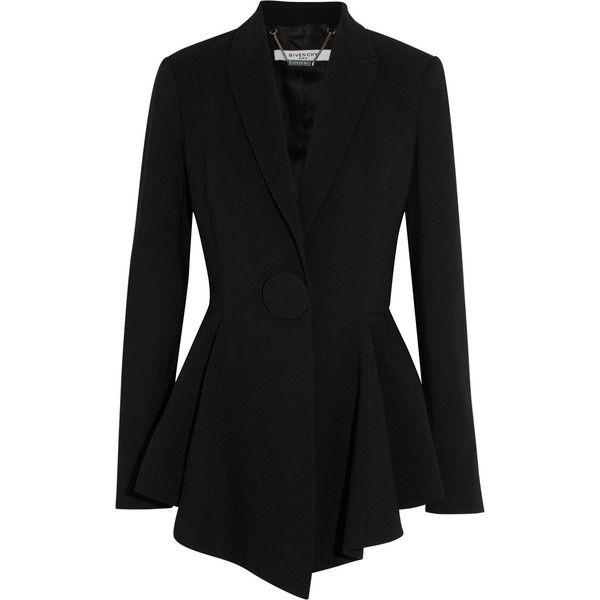 Givenchy Peplum blazer in stretch-crepe found on Polyvore featuring outerwear, jackets, blazers, blazer, black, givenchy, black blazer, black peplum jacket, peplum blazer and victorian jacket