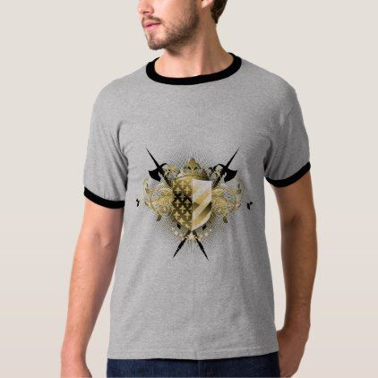 Medieval Shield Dark Ringer T-Shirt - retro clothing outfits vintage style custom