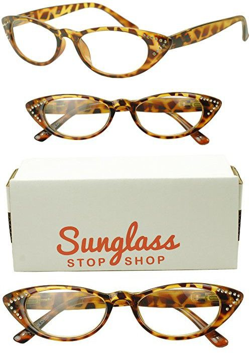 c5f634134c3e 80 s Vintage Cateyes Rhinestones Rx Magnification Strength Optical Reading  Readers Glasses - Woman (Tortoise