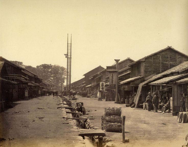 """Felice Beato. """"Street in Atsugi"""". 1867. Atsugi, Kanagawa, Kantō, Japan. JUMBLE PUSHER"""