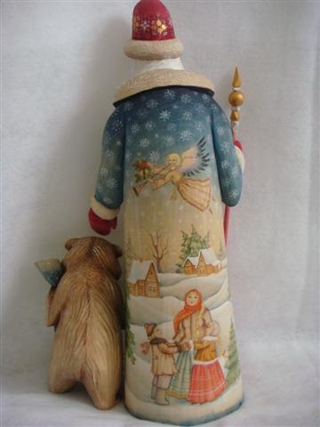 magnificent scene hand painted on back of Russian Santa