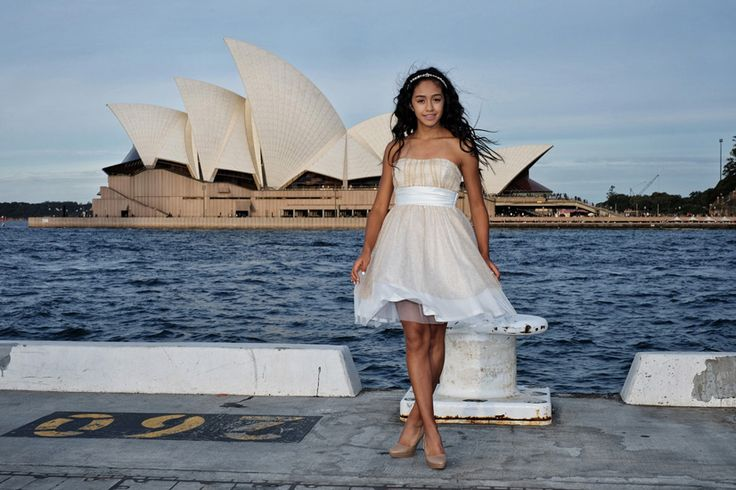 A Special XIV dress, fifteenth birthday portrait in front of the Sydney Opera House. Special occasion portrait photography, studio or location.