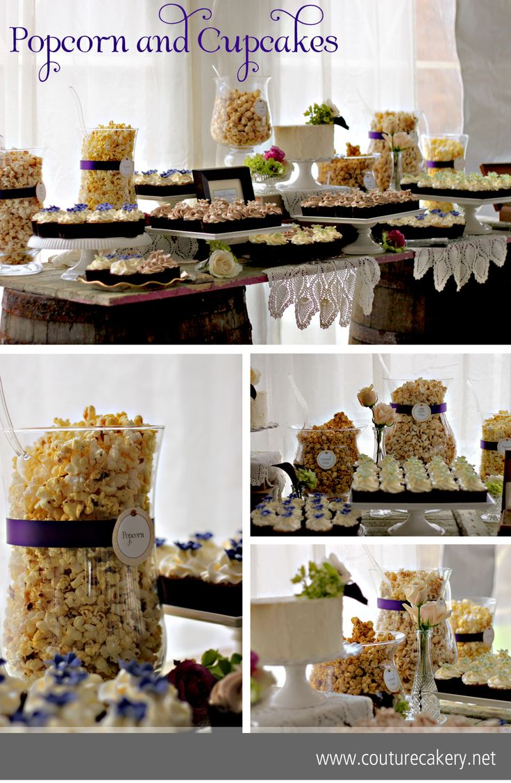 popcorn cupcakes wedding sweets table from wwwcouturecakerynet