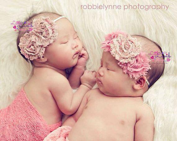 Shabby Flowers Newborn Girl Headband Ivory Baby by littlelambshop, $9.95