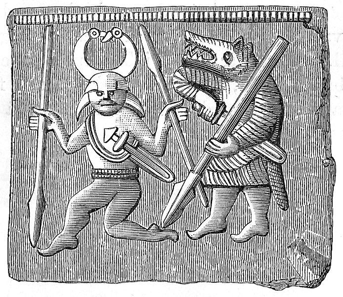 Mannbjørn. Bronseplate funnet på Öland i Sverige fra germansk jernalder (vendeltida år 550-793). Figuren til høyre er blitt tolket som en berserk, en vikingkriger i bjørneskinn.