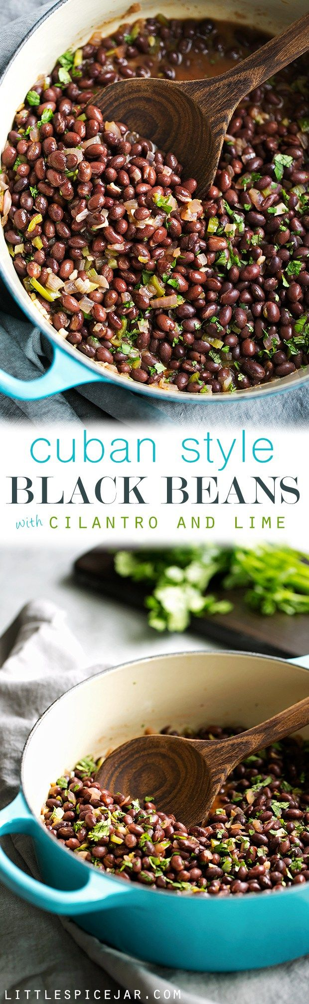 Cuban Black Beans with Cilantro and Lime - These are the perfect accompaniment to white rice and are completely vegan! Slow simmered black beans flavored with cilantro and lime! #cubanblackbeans #frijolesnegros #blackbeans | Littlespicejar.com                                                                                                                                                                                 Más