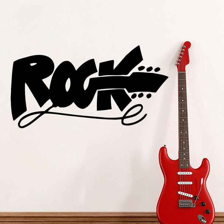 Hot Sale Modern Music Studio Wall Decal Quote Rock Sign Electric Guitar Wall Stickers For Kids Teen Rooms Hard Rock Club SYY611