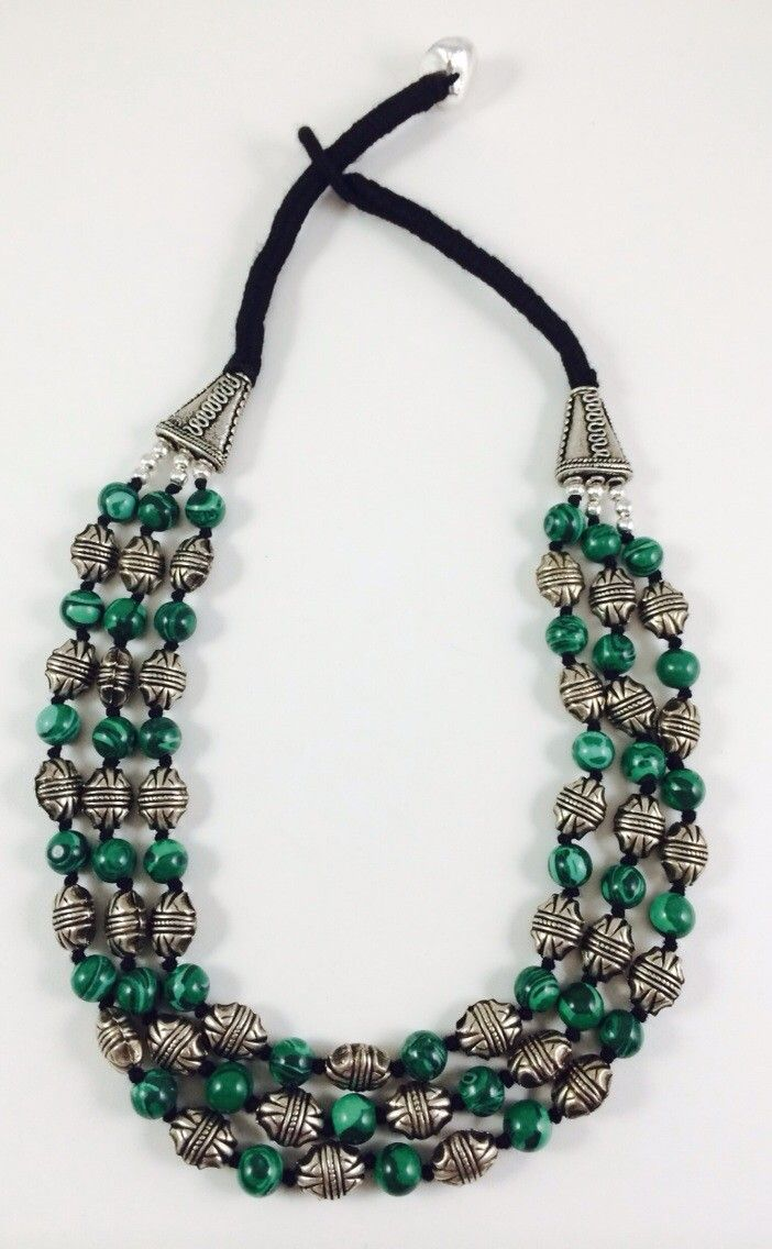 Hand made necklace is made of restructured malachite beads and silver beads. Price 30 $
