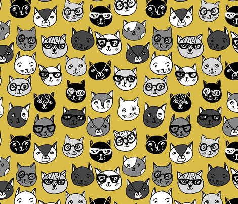 Cat Faces - Mustard by Andrea Lauren  fabric by andrea_lauren on Spoonflower - custom fabric