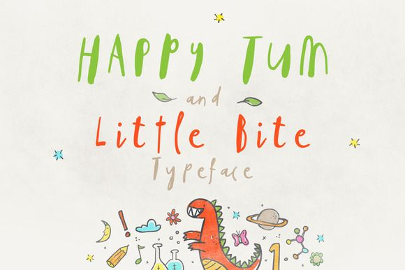Happy Tum & Little Bite Font by vuuuds on @creativemarket