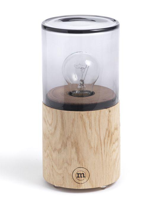 Dimmbare Design-Nachttischleuchte aus Holz und Glas im Industrial Look ✓natürlich schön & funktional ✓dänisches Design ✓versandkostenfrei bestellen