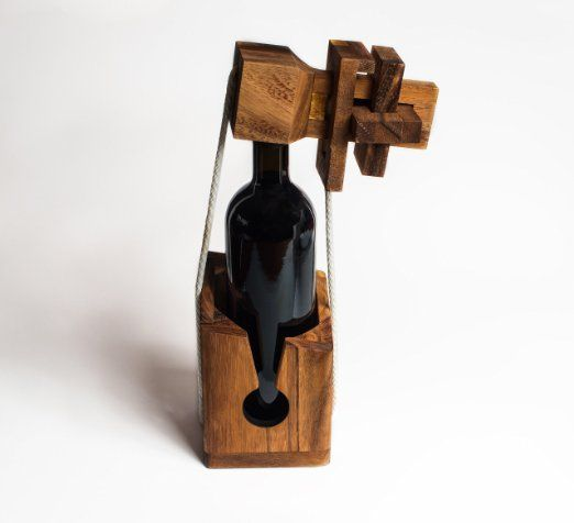 Puzzle bottiglia in legno pregiato, scrigno per bottiglia, cassaforte bottiglia, confezione regalo per bottiglie di vino comuni, scrigno per bottiglie, cassaforte bottiglie, puzzle bottiglie, gioco di logica, rompicapo, enigma bottiglia, puzzle per bottiglia di vino di The Tricky Trunk EURO 24,90