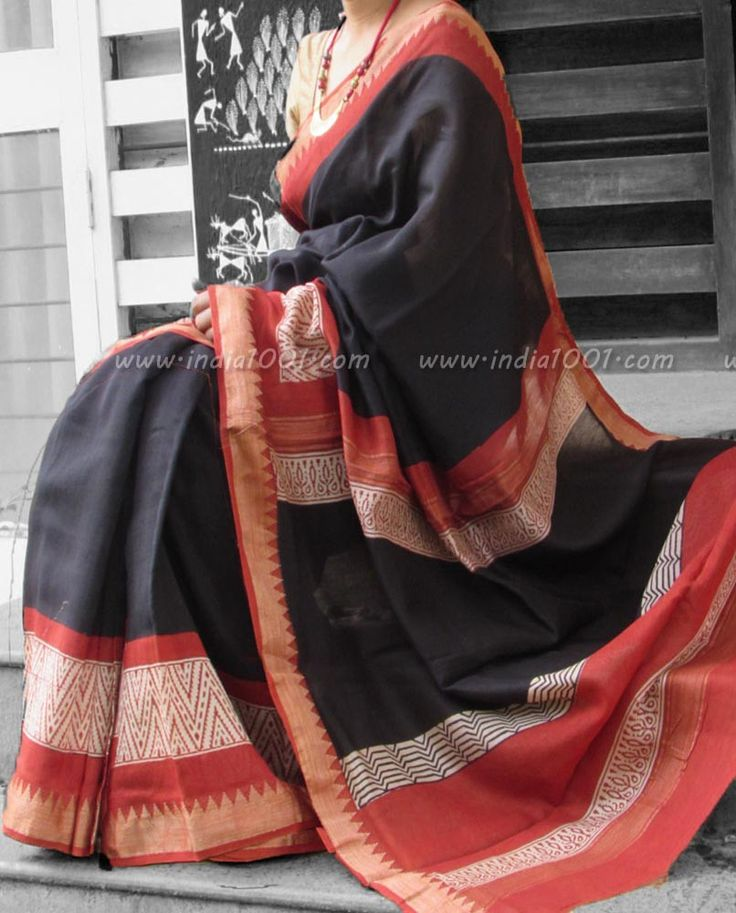 Elegant Chanderi Saree with Block Printing & Woven Temple Borders | India1001.com