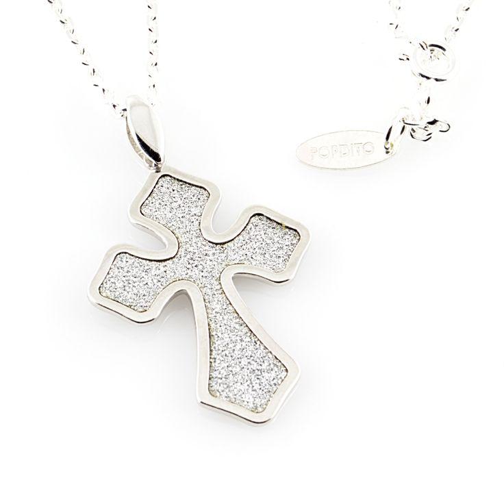 POPDITO Collier Kreuz silber 925 diamond cut Ankerkette 50cm-Lebe Deinen Style