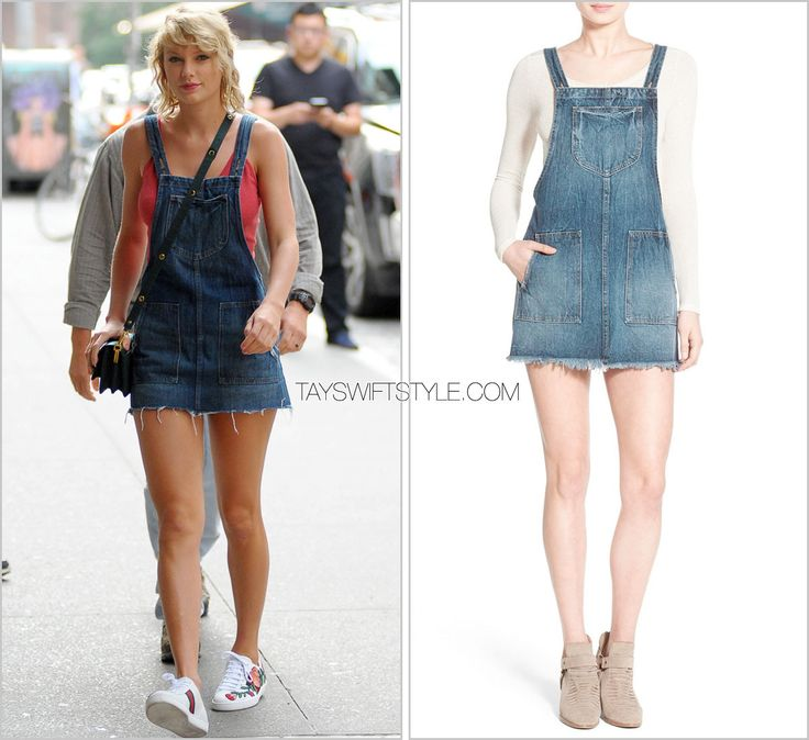 Arriving at her apartment | New York City, NY | August 8, 2016 Tularosa 'Sophia Denim Overall Dress' - $170.00 $102.00 After wearing denim shorts and even shortalls not too long ago, Taylor went full force with her denim love wearing this adorable...