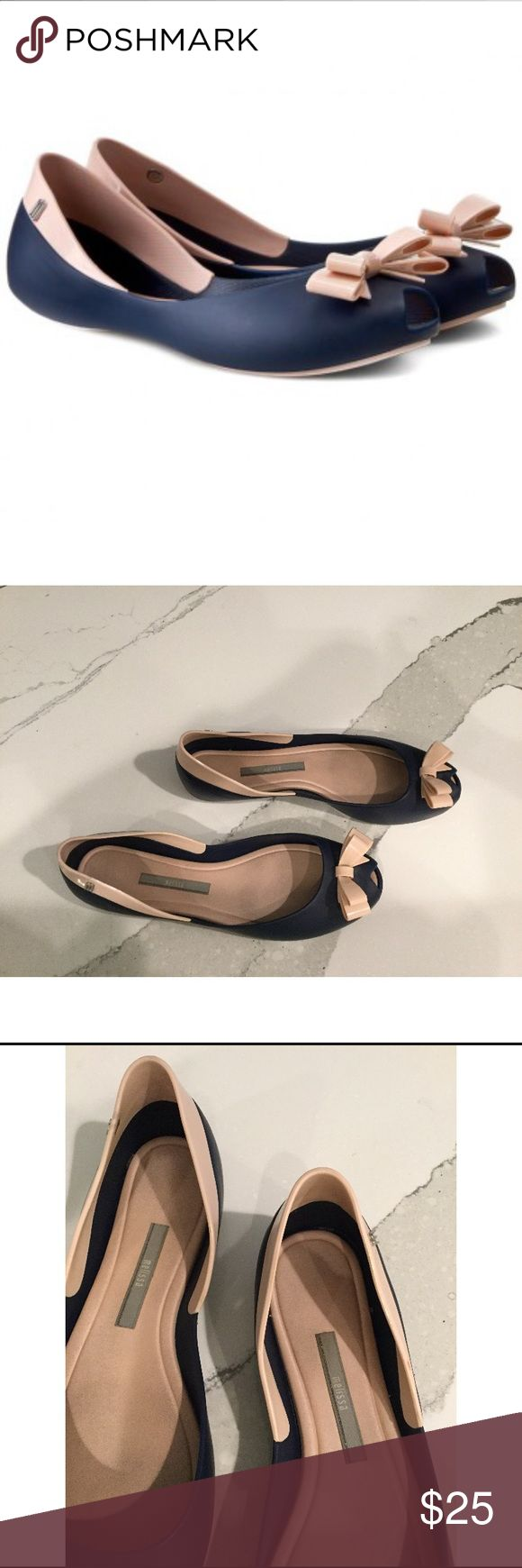 Blue and pink Melissa flats Melissa brand from Brazil. Some moderate wear and pictured. Super comfortable! Melissa Shoes Flats & Loafers