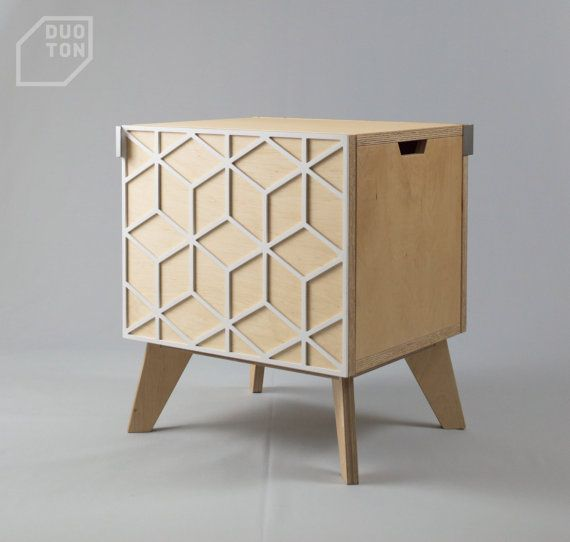 Double sided nightstand, bedside cabinet, bedside table, end table, plywood, modern