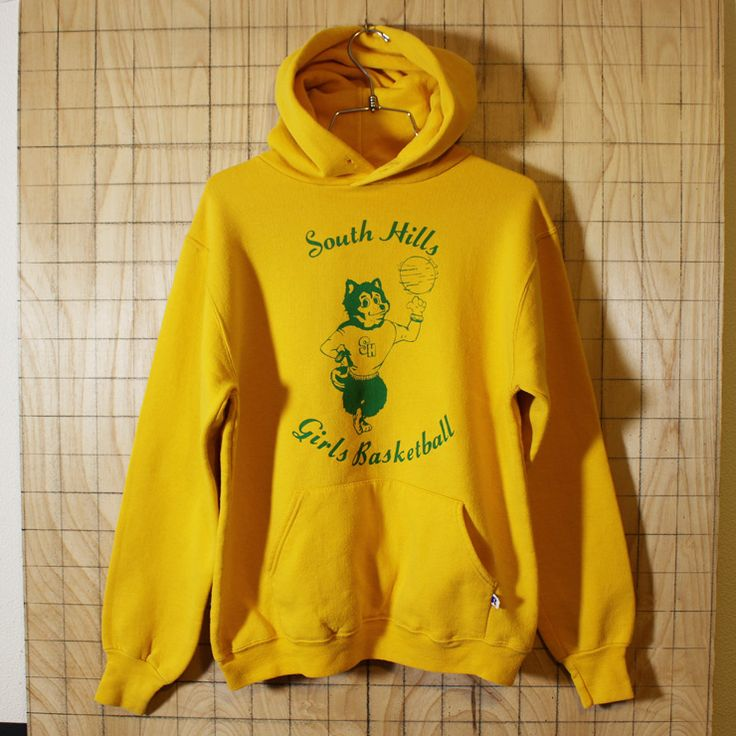 【RUSSELL ATHLETIC】USA製80s古着イエローSouth Hills Girls Basketballプリントスウェットパーカー|メンズM