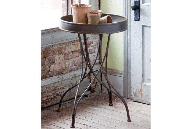 Round Metal Side Table - From Antiquefarmhouse.com - http://www.antiquefarmhouse.com/past/accent7/round-metal-side-table.html