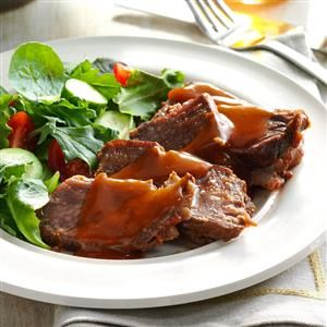 Sweet 'n' Tangy Pot Roast Recipe -I fixed this roast the first time I cooked for my husband-to-be more than 20 years ago. For dessert, I made chocolate pudding spooned over marshmallow. He thought he'd died and gone to heaven! —Carol Mulligan, Honeoye Falls, New York