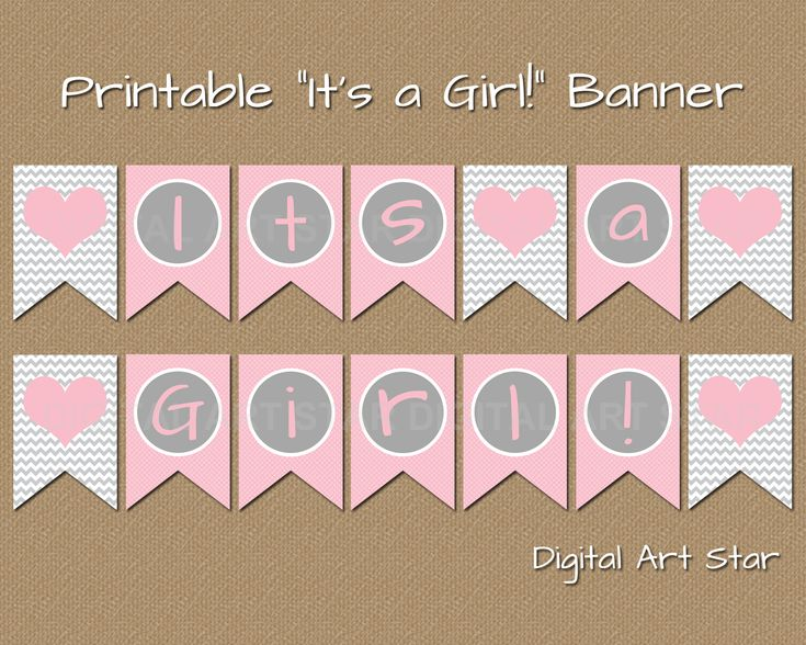 Digital Art Star :: Cute Digital Scrapbook Paper and Party Printables: DIY Printable It's a Girl Baby Shower Banner