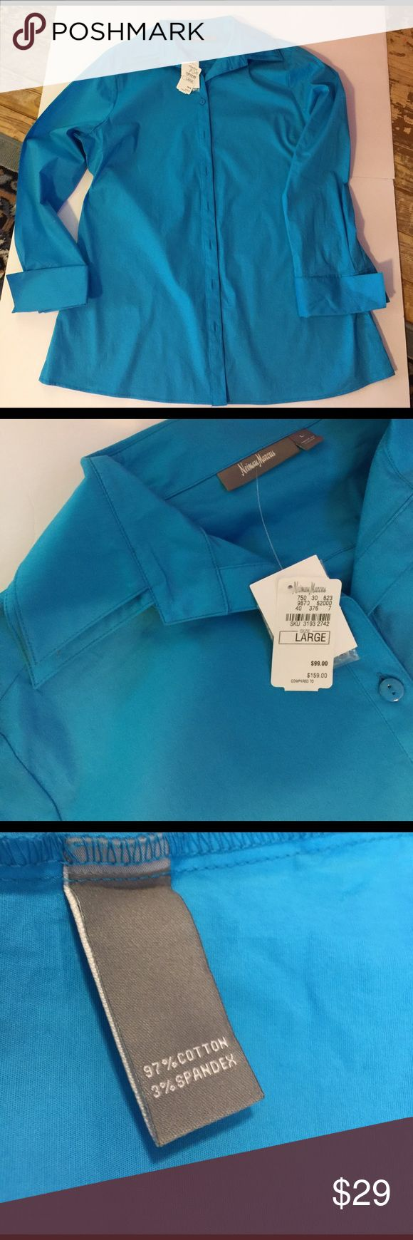 """Neiman Marcus NWT Bright blue Double Collar Shirt Lovely bright blue double collar peaked cuff ladies shirt in Large.  Tag price is $99. 97% cotton 3% Spandex machine washable separated. Shirt is longer length.  29"""" nape of neck to hem Neiman Marcus Tops Button Down Shirts"""